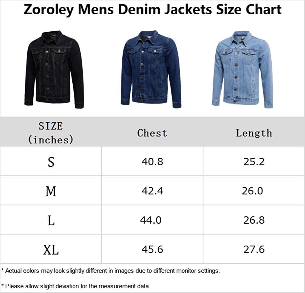 Zoroley Mens Denim Jacket Casual Jeans Washed Coat Western Classic Vintage Trucker Cotton Button Down Outwear Tops