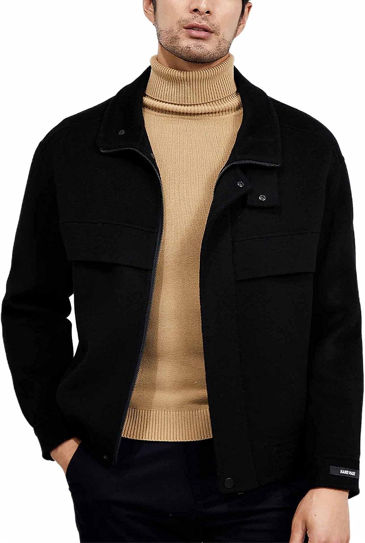 Men's Double-Sided Woolen Jacket Stand Collar Windproof Pea Coat Casual Zipper Button 100% Woolen Coat