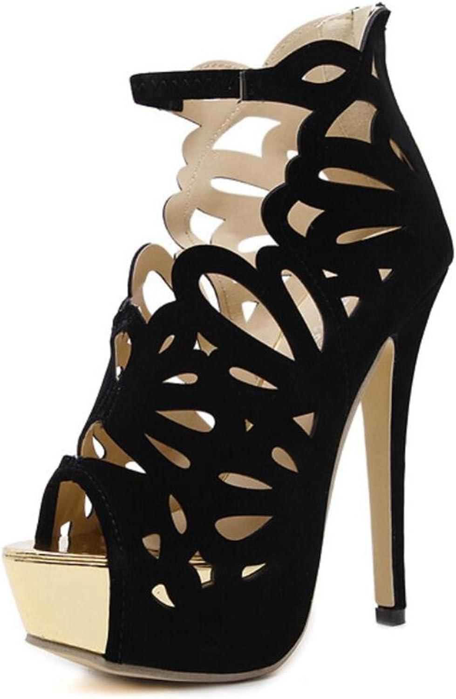 LINYI Stiletto Heels Sandals Black Womens Summer Platform Hollow Breathable Party Super High Heels