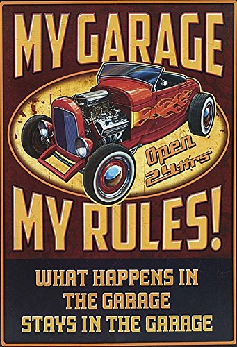 Schatzmix My Garage My Rules - What Happens in The Garage Stays in The Garage - hot Rod oldtime Metal Sign deko Sign Garten Blech