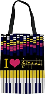 Piano Print Canvas Bag Wedding Bags for Bridal Party, Bridesmaid Tote Gift Bag