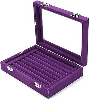 MyJell 7 Slot Velvet Jewelry Rings Display Tray Earring Storage Case Jewelry Storage Box