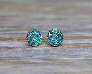 Aqua Blue Druzy Stud Earring Real Genuine Druzy Quartz Gemstone- Small 6mm