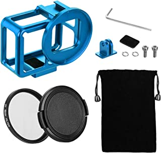 TELESIN Aluminum Protective Case Hollow Frame Housing for GoPro Hero 7 Black Hero 6 Hero5, with 52mm UV Filter and Backdoor, Good GPS/Wi-Fi Signal Receiving, HDMI Type-C Port Supported (Blue)