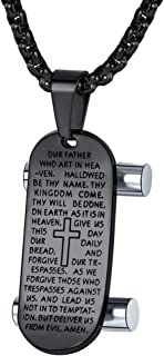 FaithHeart Cross Necklace Bible Verse Jewelry, Stainless Steel/Gold Plated Christian Charms Lords Prayer Pendant, Customize Available, Dog Tag Necklace for Men (Send Gift Box)