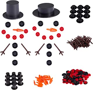 Cosweet 20 Sets Buttons for Snowman Crafts DIY- 20pcs Carrot Noses Buttons 20pcs Mini Black Top Hats Plastic Magician Hats with 120pcs Tiny Buttons& Hands for Christmas Crafting Sewing Party Supplies