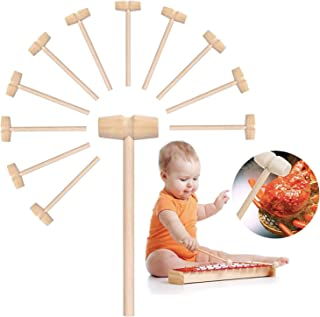 12Pcs Mini Wooden Hammer Mallet Pounding Toy, Educational Toy for Boys Girls, Breakable Easter Egg Tools, Wooden Hammer fo...
