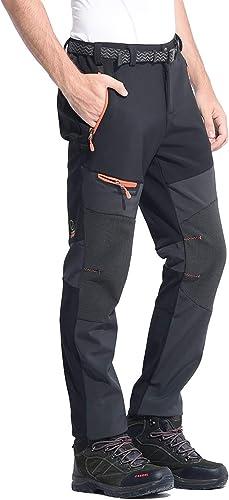 Men/'s Cycling Ski 5 Zipper Pocket Tapered Leg Elastic Waist Blue Warn Woven Pant