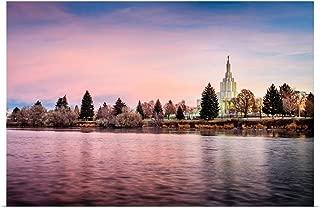 GREATBIGCANVAS Poster Print Idaho Falls Idaho Temple, Sunrise on The River, Idaho Falls, Idaho by Scott Jarvie 18