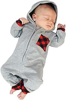 Ropa Bebe Recien Nacido, Niño Bebé Mono con Capucha Enrejado Impresión Ropa Manga Larga Bebé Mamelucos Bebé Unisex Ropa de Mono