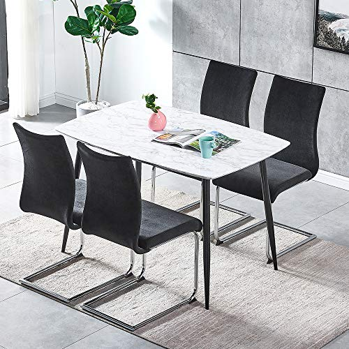 HomeSailing Black Velvet Lorenzo Dining Chair with Metal Lumber Frame Marble Look Dining Room Set White Wood Dining Table with Black Legs Dining Room Table and Chairs Sets
