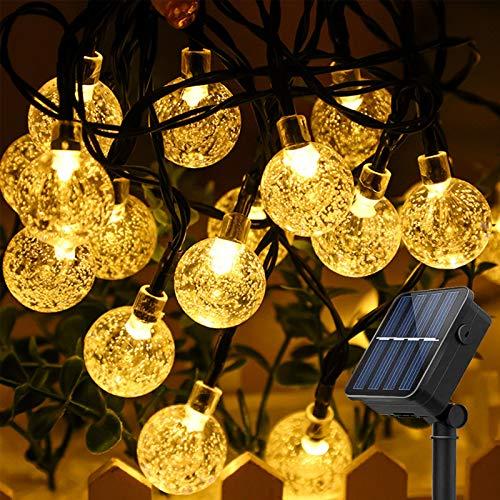 BeauFlw Solar Lichterkette Aussen, 8M 50er LED Lichterkette Außen Solar für außen mit Kristall Kugeln, 8 Modi IP65 Wasserdicht Lichterkette außen Solar für Garten, Bäume, Partys.