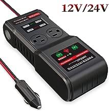 BMK 300W Car Power Inverter DC 12V 24V to 110V AC DC Adapter 2 AC Outlets 4 USB Ports Charger Adapter Car Plug Converter with Switch and Cigarette Lighter Socket