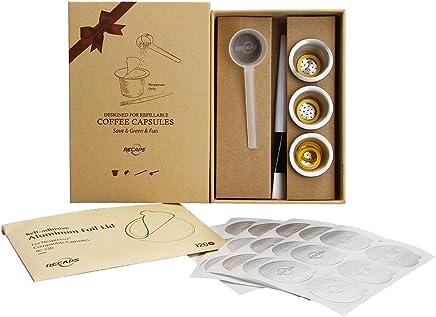RECAPS--Capsules Rechargeables en Acier Inoxydable Goupilles R/éutilisables Compatible avec Machines Nespresso 3 Capsule + 120 Sceaux+ 1 Alt/érer