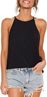 Womens Tops Sleeveless Halter Racerback Summer Basic Tee...