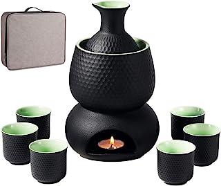Sake-Set und Tassen mit Wärmer und Geschenkbox, traditionel