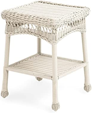 """Plow & Hearth 39007-BWH Easy Care Outdoor Resin Wicker End Table, 17"""" x 22"""" H, Bright White"""