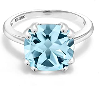 925 Sterling Silver Sky Blue Topaz Women's Engagement Ring (4.25 Ct Cushion Cut, Gemstone Birthstone, Available in size 5, 6, 7, 8, 9)