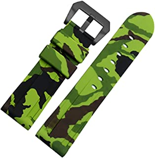 24mm Camouflage Diver Rubber Silicone Watch Band PVD Tang Buckle Strap Fits for Panerai Luminor
