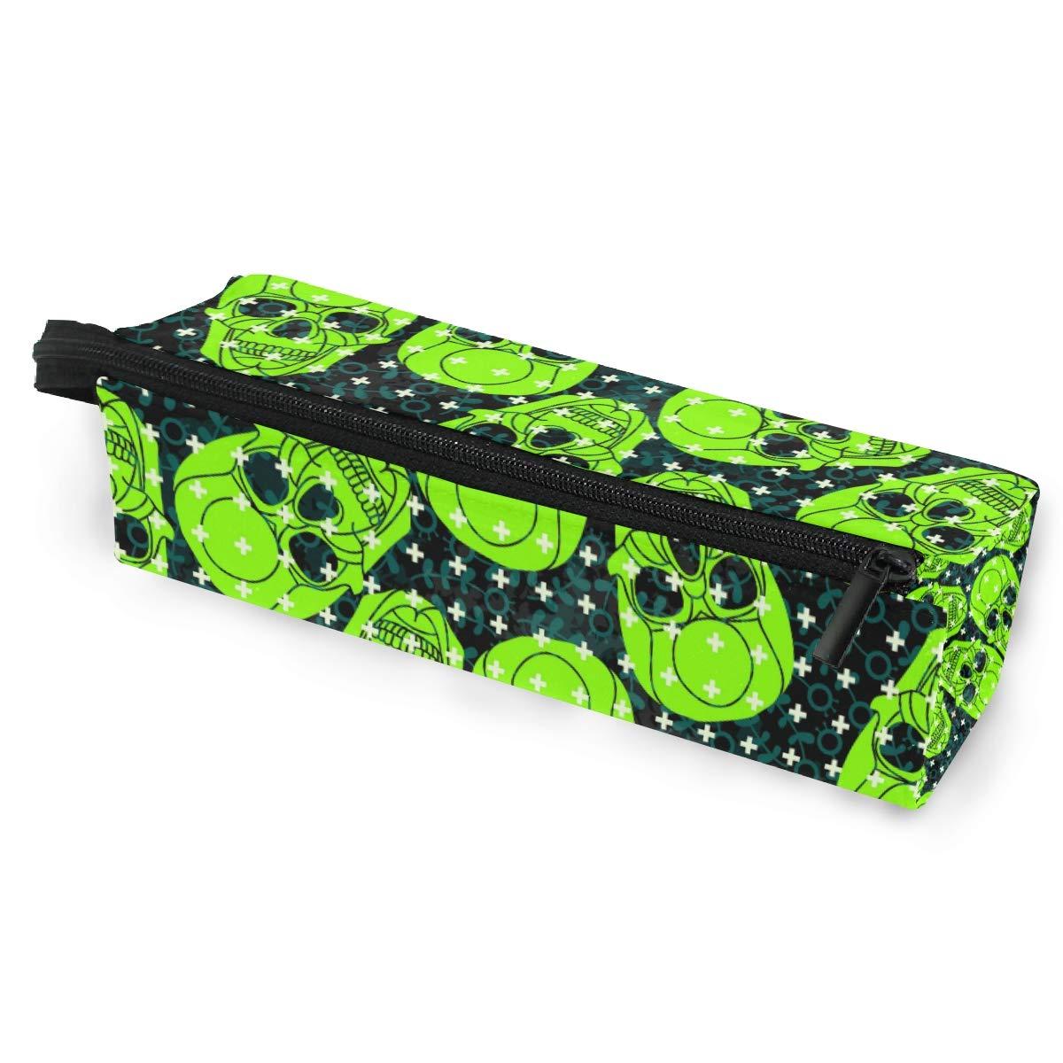 Estuche portátil para gafas con diseño de calavera verde de dibujos animados, caja suave para mujeres y niñas, con cremallera, bolsa de almacenamiento: Amazon.es: Oficina y papelería