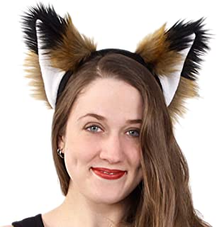 Pawstar Spicy Fox Furry Ear Headband Realistic Rust Tan Brown Costume