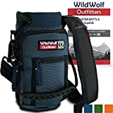 Water Bottle Holder for 32oz Bottles by Wild Wolf Outfitters - Blue - Carry, Protect and Insulate Your Best Flask with This Military Grade Carrier w/ 2 Pockets & an Adjustable Padded Shoulder Strap.