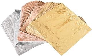 """VGSEBA 300 Sheets Gold Leaf, Rose Gold Foil, Silver Leaf, 5.5"""" by 5.5"""" Leaves for Gilding, Arts Craft, Nail Decorations"""