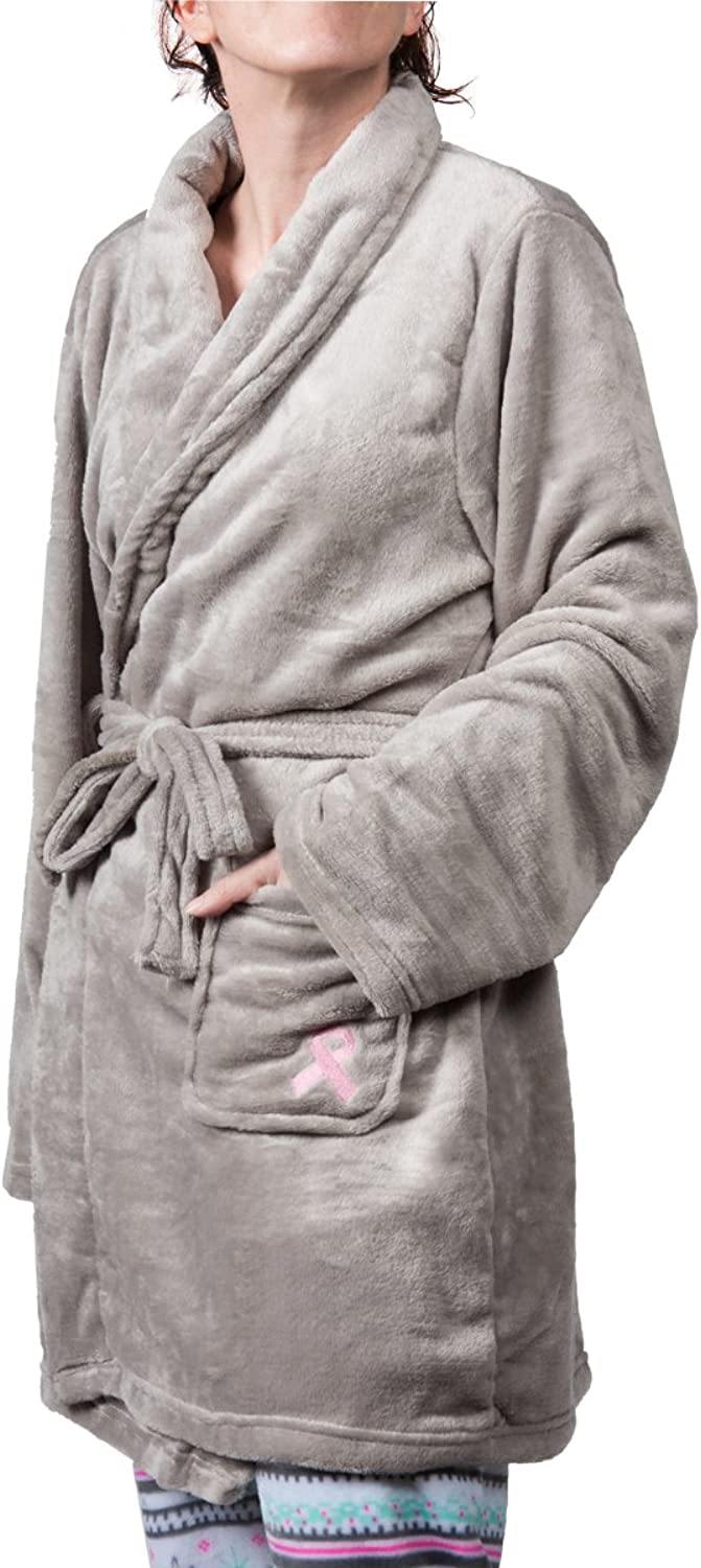 National Breast Cancer Foundation Awareness Robe Grey Pink Ribbon Plush Fleece