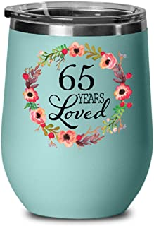 65 Years Loved Since 1954 Wine Tumbler - Happy 65th Birthday Gifts for 65 Year Old Women Wife Mom Nana Grandma Her Grandmother in Law - Wine Glass with Lid - Teal