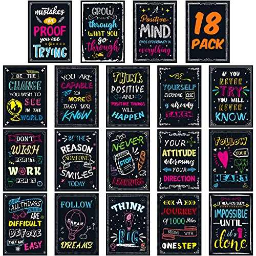 18 Pack Motivational Posters for Classroom Office Decorations Inspirational Quote Wall Art for Students Teachers, 12 x 17 In.