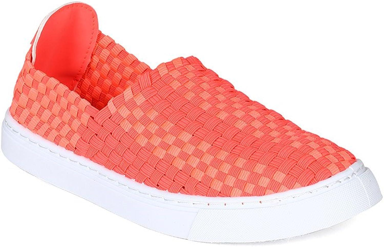 Qupid Women Metallic Woven Webbing Slip On Fashion Sneaker BH24 - Hot Pink