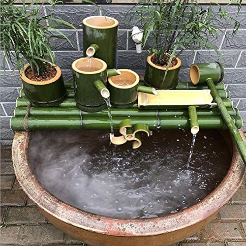 FF&XX Japanese Bamboo Water Feature Statue,Outdoor Water Fountain,Indoor Outdoor Fountain,Split-resistant Bamboo Ornaments A 55cm