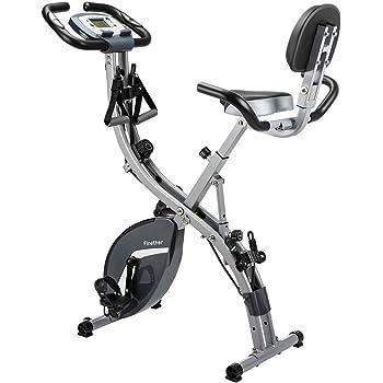 Finether Vélo de Fitness Pliant- Vélo d'Entrainement- Vélo d'Exercice- Vélo Cardio- Fitness Bike-Vélo Dossier avec 8 Niveaux de Résistance, Siège Réglable, Affichage LCD, Capteur de Pouls,Charge 110kg