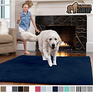 Gorilla Grip Original Faux-Chinchilla Area Rug, 2x8 Feet, Super Soft and Cozy High Pile Washable Carpet, Modern Rugs for Floor, Luxury Shag Carpets for Home, Nursery, Bed and Living Room, Navy Blue
