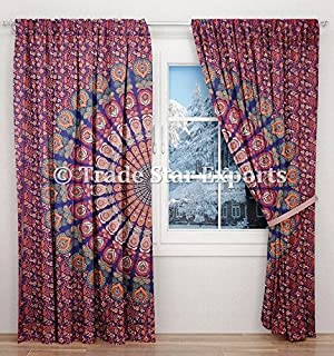 Indian Mandala Curtains, Decorative Windows Curtain Set of 2 Panels, Boho Door Hanging Drapes, Ethnic Tapestry Curtains, Room Darkening Panels, Window Treatments Curtains for Living Room (Pattern 8)