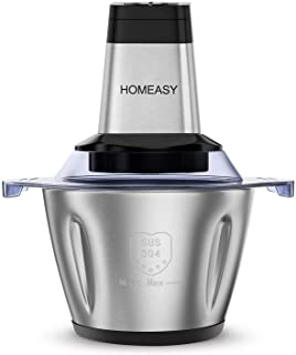 HOMEASY Hachoir Electrique Viande Avec Bol en Acier Inox 2,5L, Hachoir Viande Avec 4 Lames pour hacer Viande, Oignon, Herb...