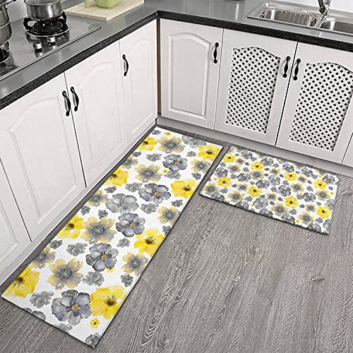 Demvemin Non Slip Kitchen Floor Mat Flower Watercolor Gray Yellow Art Set 2 Piece Kitchen Rug Yoga Mat