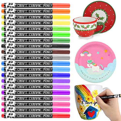 Ceramic Pen Set, RATEL 20 Colors No Bleed Porcelain Paint Permanent Waterproof Porcelain Brush Pen, Dishwasher Safe Acrylic Paint Pen for DIY Mugs, Cups, Plate, Ceramics, Pottery