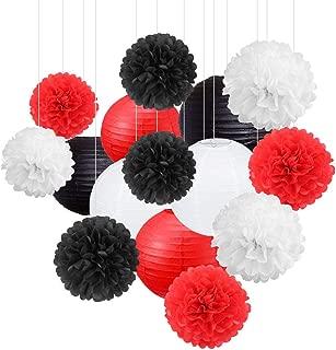 15Pcs White Red Black Party Decoration Paper Lanterns Paper Pompoms Balls Hanging Decoration Backdrop for Baby Shower Birthday Party Decor Wedding Bridal Shower Centerpieces Home Decor Graduation