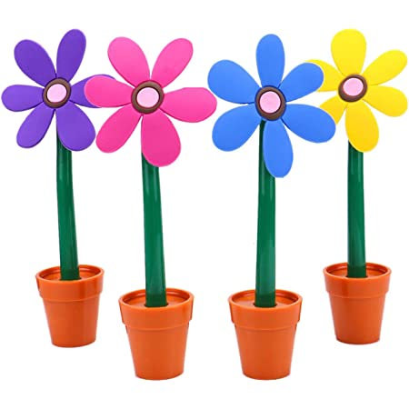 Maydahui 4PCS Flower Ballpoint Pens with Plant Pot Stand on Desk Set Cute Creative Design Colorful for Student Kids Valentine's Day