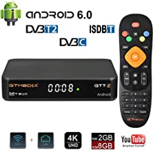 GT Media GTT-2 Android 6.0 TV Box DVB-T2/C TDT Digital Decodificador, Amlogic Quad Core S905D 2GB+8GB Media Player, 3D 4K HD/H.265/MPEG-4 Incorporado 2.4G WIFI, Soporte DLNA CCcam IPTV