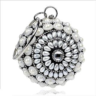 DIEBELLAU New Spherical Pearl Female Bag Nightclub Lady Hand Bag Handbag Star with The Evening Bag (Color : Black, Size : XS)