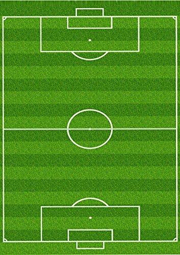Deko-Tortenaufsatz, Zuckerguss-Blatt mit Aufdruck Fußballfeld, Format A4, essbar, ideal für große Torten mit Fußballmotiv, 1Stück
