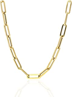"""14K Yellow Gold 6mm Paperclip Elongated Link Chain Necklace 16"""" - 30"""""""