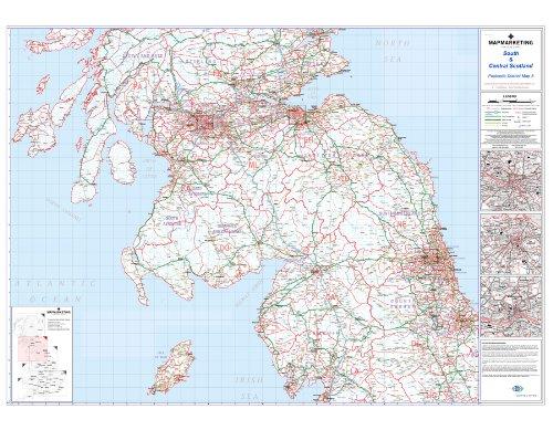 Postcode District Kaart 5 Zuid en Centraal Schotland (Glasgow, Edinburgh en Newcastle Upon Tyne) - Gelamineerde Wandkaart