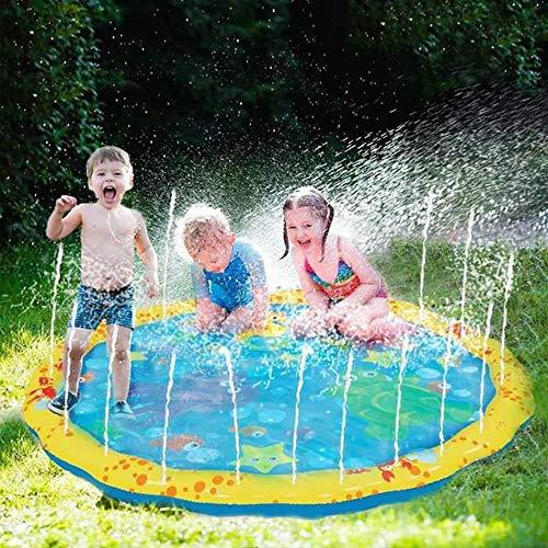 ZHYAN 100cm spritzwassergeschützte Matte und Spielzeug-Sprinkler-Spielfeld, Wasserspielzeug-Spielfeld, Sommergarten im Freien müssen Spaß Spielzeug-Sprinkler-Pool haben