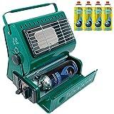 Calefactor de gas portátil al aire libre pesca Camping 1,3kW calefactor de Gas butano compacto y ligero + 4recargas de Gas