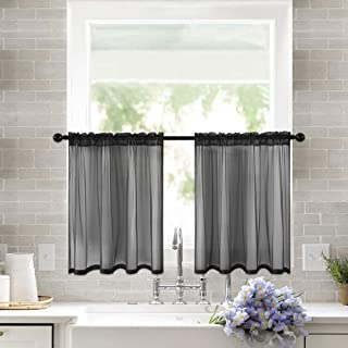 MIULEE 2 Panels Kitchen Tiers Half Window Sheer Curtains Rod Pocket Semitranslucent Voile Drapes for Kitchen Bathroom Small Windows 29 by 36 Inch Black