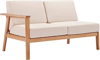 Modway EEI-3678-NAT-TAU Outdoor Patio Eucalyptus Wood Sectional Sofa Left-Facing Loveseat in Natural Taupe, Right