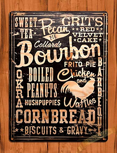 Bernice TIN Sign Bourbon Cornbread Sweet Tea Southern Garage Kitchen Rooster